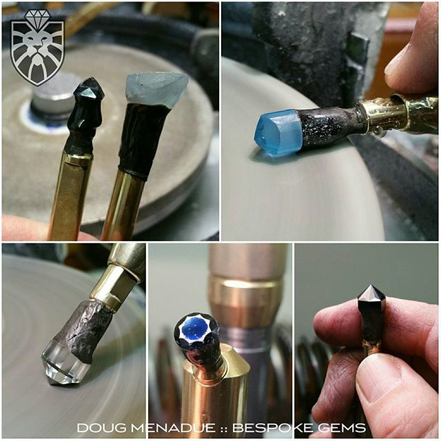 Busy busy busy... lot of cutting to do this week. A topaz and black spinel cut in my new FITZROY design that was commissioned by the Courtesy Of The Artist gallery (COTA) in Strand Arcade and will get its premiere next Wednesday night at the special Meet The Designers event being held. Also cutting an electric blue topaz Antique  Round and a natural blue topaz Egyptian Asscher as well as recutting the crown on an old worn blue sapphire. Plenty to do. Also got to find time to photograph new stock and list it on the new King Stone Gems website.  WWW.KINGSTONEGEMS.COM  WWW.BESPOKE-GEMS.COM  SYDNEY CBD - AUSTRALIA - Precision Gemcutting and Lapidary Services Located In Sydney Australia