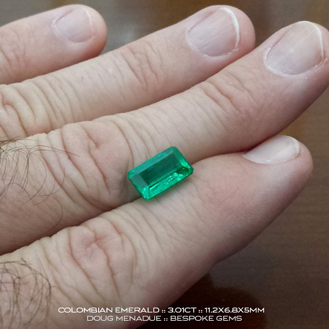 COLOMBIAN EMERALD :: 3.01CT :: 11.2x6.8x5MM ::There is another.... This is one of several exceptional Colombian emeralds that I have available for a very limited time only. They have been out of the ground for a long time and the owner now wants to sell them urgently.  They are available for viewing this week in Sydney,  Australia.  These emeralds are superb  gems, very clean and the colour and vibrancy of the finest quality.  Emeralds of this caliber you rarely, rarely see. Contact me to arrange an appointment.  WWW.BESPOKE-GEMS.COM :: 0408064190 :: SYDNEY :: AUSTRALIA - Precision Gemcutting and Lapidary Services Located In Sydney Australia