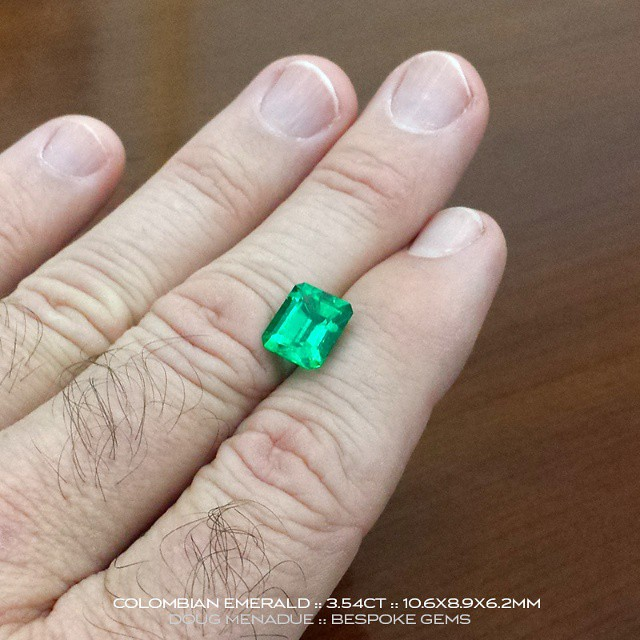 COLOMBIAN EMERALD :: 3.54CT :: 10.6X8.9X6.2MM :: This is one of three exceptional Colombian emeralds that I have available for a very limited time only. They have been out of the ground for a long time and the owner now wants to sell them urgently.  They are available for viewing this week in Sydney,  Australia.  These emeralds are superb  gems, very clean and the colour and vibrancy of the finest quality.  Emeralds of this caliber you rarely, rarely see. Contact me to arrange an appointment.  WWW.BESPOKE-GEMS.COM :: 0408064190 :: SYDNEY :: AUSTRALIA - Precision Gemcutting and Lapidary Services Located In Sydney Australia
