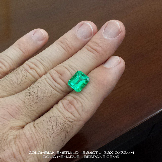 COLOMBIAN EMERALD :: 5.84CT :: 12.3X10X7.3MM :: This is one of three exceptional Colombian emeralds that I have available for a very limited time only. They have been out of the ground for a long time and the owner now wants to sell them urgently.  They are available for viewing this week in Sydney,  Australia.  These emeralds are superb  gems, very clean and the colour and vibrancy of the finest quality.  Emeralds of this caliber you rarely, rarely see. Contact me to arrange an appointment.  WWW.BESPOKE-GEMS.COM :: 0408064190 :: SYDNEY :: AUSTRALIA - Precision Gemcutting and Lapidary Services Located In Sydney Australia