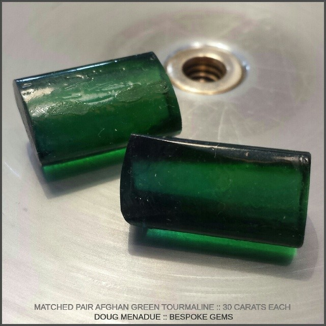 Coming soon... a matched pair of Afghani green tourmalines. These pieces are 30 carats each and I'm hoping to get a nice pair of Bespoke Gems from them around the 10x18mm. Will probably cut a pair of 'Smith Bars' which is one of my favorite rectangular designs.  WWW.BESPOKE-GEMS.COM - Precision Gemcutting and Lapidary Services Located In Sydney Australia