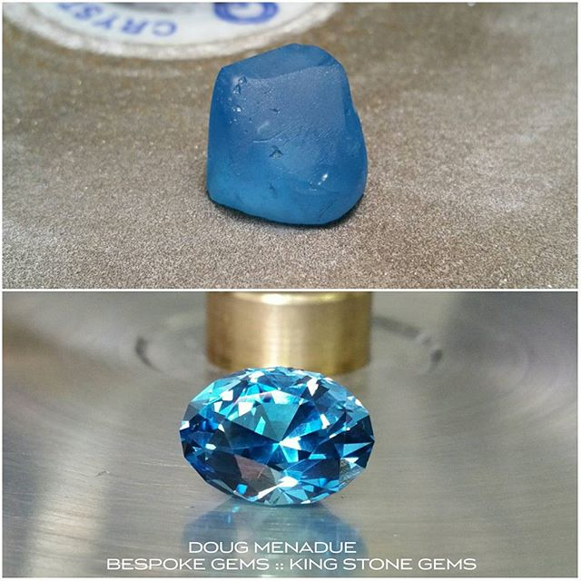 Finished!  Here's a before and after of the electric blue topaz I just cut. Turned out beautifully, just love that colour!  WWW.BESPOKE-GEMS.COM  WWW.KINGSTONEGEMS.COM - Precision Gemcutting and Lapidary Services Located In Sydney Australia