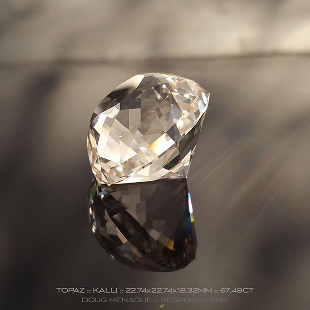 Finished! 67.48 carats of topaz magic. I cut this in the KALLI design with 177 facets. A big beautiful stone. I hope the client is going to be happy with it.  :-)   WWW.BESPOKE-GEMS.COM  Commissions taken. - Precision Gemcutting and Lapidary Services Located In Sydney Australia