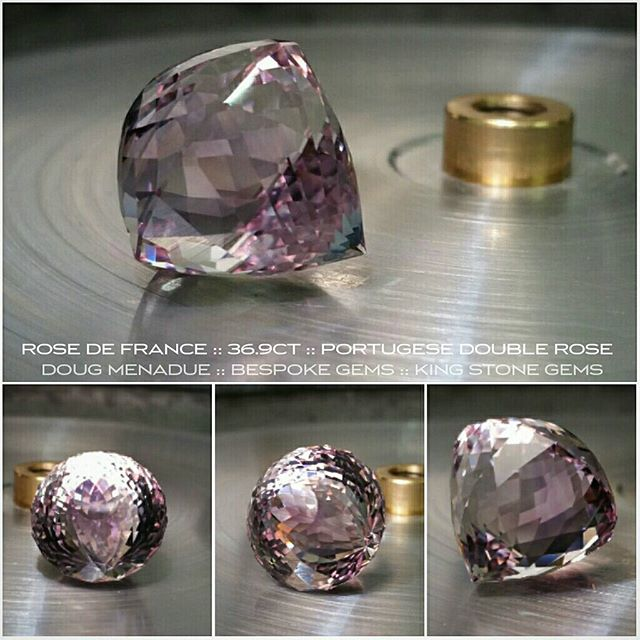Finished! Here's a big beautiful 225 facet, 36.9ct flawless gem of Brazilian Rose de France Amethyst cut in the Portuguese Double Rose design which is an amalgam of a traditional Portuguese pavilion and a Double Rose dome crown from a design by Jeff Graham. It turned out beautifully and it is a ball of light! All those facets really add some kick to this gem. Nice way to finish the week. :-) WWW.BESPOKE-GEMS.COM  WWW.KINGSTONEGEMS.COM - Precision Gemcutting and Lapidary Services Located In Sydney Australia