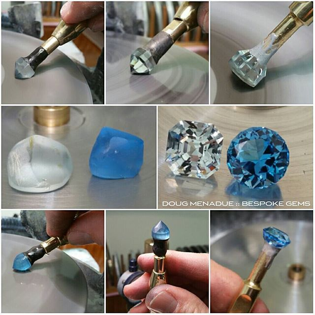 Finished a nice natural blue topaz asscher 4.94ct and an electric blue topaz antique round 5.76ct. A lovely pair of topaz gems commissioned by a customer.  WWW.BESPOKE-GEMS.COM  WWW.KINGSTONEGEMS.COM - Precision Gemcutting and Lapidary Services Located In Sydney Australia
