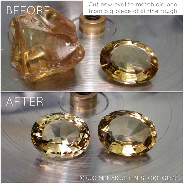 Finished cutting a new citrine oval to replace the old one that came out of a setting and is damaged. You can see the big chunk before and how it looks after.  DOUG MENADUE  WWW.BESPOKE-GEMS.COM  SYDNEY CBD AUSTRALIA - Precision Gemcutting and Lapidary Services Located In Sydney Australia