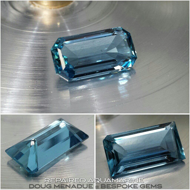 Finished repairing the damaged aquamarine. The bottom two pics show the chipped corner and where a flake has come off the Pavilion. Because of this the other three corners also had to be trimmed changing it from a baguette to an emerald cut. While I was at it I also polished the girdle which originally had been left unpolished and was very unsightly, sloppy work.  Folks,  when you are spending good money on a stone make sure you are not wasting your money on poorly cut and finished stones. Would you buy a brand new car that was covered in scratches,  chips and other defects? The girdles should be polished otherwise it just looks cheap.  I also repolished the table as it was poorly finished and had alot of scratches.  This gem has now been repaired and looks 100% better then it did. A gem that is properly finished and polished is one that you can charge more for and it makes your jewel look that much better. It's all about attention to detail.  WWW.BESPOKE-GEM.COM - Precision Gemcutting and Lapidary Services Located In Sydney Australia