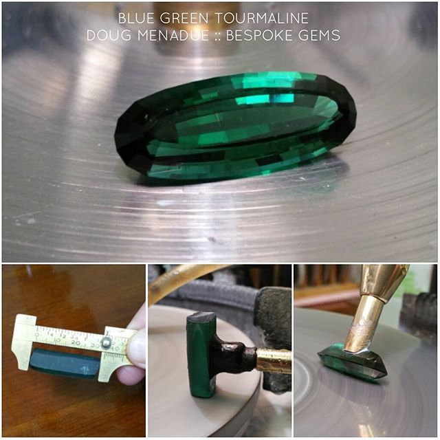 Finished the 25x10mm stepped cut long oval tourmaline. Came in at a smidge over 14 carats. WWW.BESPOKE-GEMS.COM - Precision Gemcutting and Lapidary Services Located In Sydney Australia