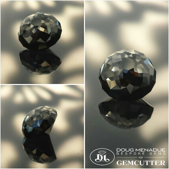 First cab off the rank. An Australian black spinel cut in the KALLI dome design with 185 facets, 10.6mm, 7 carats.  WWW.BESPOKE-GEMS.COM - Precision Gemcutting and Lapidary Services Located In Sydney Australia