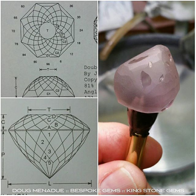 For my next magic trick... I've had this big piece of beautiful rose de France Amethyst dopped up for about 6 months that I wanted to cut but couldn't decide on a design. Anyway, it's been staring at me for a while now and I've settled on a design for it. It's a big piece and I'm hoping to get around an 18mm diameter. Because it's so large it's going to need alot of facets so I'm going to do a traditional Portuguese cut on the pavilion and a Double Rose dome cut on the crown. That will really turn this beauty into a big ball of swirling sparkling light. Stay tuned to see how it will turn out. Any guesses on the finished weight?  WWW.BESPOKE-GEMS.COM  WWW.KINGSTONEGEMS.COM - Precision Gemcutting and Lapidary Services Located In Sydney Australia