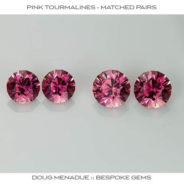 Fresh off the dopstick, two matched pairs of beautiful Nigerian pink tourmalines. These are cut in a Round Brilliant style design called 'Mini-Mint' and the gems are perfect for earrings or studs. The tourmalines are a strong vivid pink and very bright and flashy. Sizes are 6.6mm 2.84tcw and 7.5mm 3.93tcw. For sale. Contact me for more info.  DOUG MENADUE  WWW.BESPOKE-GEMS.COM  SYDNEY CBD AUSTRALIA - Precision Gemcutting and Lapidary Services Located In Sydney Australia