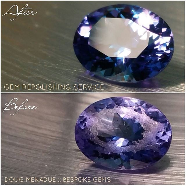 GEM REPOLISHING SERVICE - give tired old worn gemstones a facelift and a new lease of life. This revitalized gem is a sapphire, old weight was 1.35 carats, new weight is 1.30 carats. Only 5 points sacrificed to make it look like new again. Contact me if you are interested in having old gems sparkling again.  DOUG MENADUE  WWW.BESPOKE-GEMS.COM  SYDNEY CBD AUSTRALIA - Precision Gemcutting and Lapidary Services Located In Sydney Australia