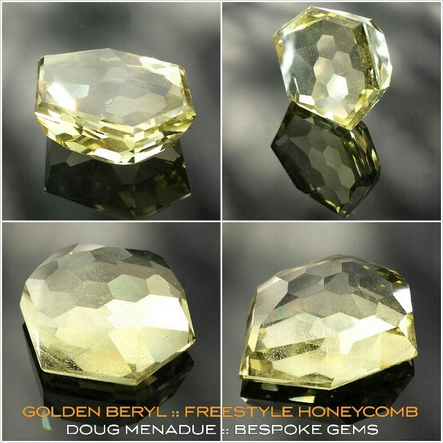GOLDEN BERYL :: FREESTYLE HONEYCOMB :: 26.8CT :: Here's that big piece of golden beryl I was working on. It turned out pretty cool. Very happy with it. It was cut for a customer from a piece of rough they supplied. This would make a great pendant I think. It's something a bit different anyway.  WWW.BESPOKE-GEMS.COM - Precision Gemcutting and Lapidary Services Located In Sydney Australia