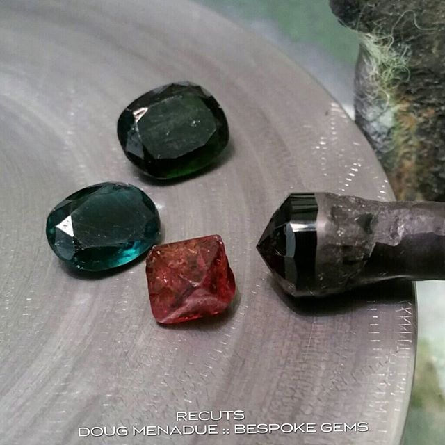 Getting down and dirty! Got some chrome and indicolite tourmalines that have had a hard life and its time for them to have a recut, make them look pretty again. There is also a spinel crystal that the client wants cleaned up (preserving the crystal shape) and made nice and sharp to go into a setting.  WWW.BESPOKE-GEMS.COM - Precision Gemcutting and Lapidary Services Located In Sydney Australia