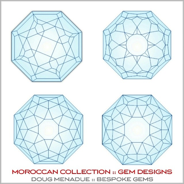 Here are some of the gem designs from my MOROCCAN COLLECTION.  These were inspired from a journey through Morocco and seeing all the amazing and colorful geometric tiled walls and features everywhere I went. It was a revelation and truly inspiring. I wanted to take these from the two dimensional into the three, to embody these incredible geometric designs as beautiful gems. The energy and awe that I felt when looking at all those brightly colored tiled creations I wanted to capture and hold in a gem.  WWW.BESPOKE-GEMS.COM - Precision Gemcutting and Lapidary Services Located In Sydney Australia