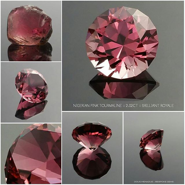 Here is a stunning Nigerian pink tourmaline that I faceted in my Brilliant Royale design. This beautiful gem is what I would call ''hot'' pink for its intense and vivid colour and is 2.02 carats. This is an exceptionally fine gemstone, eye clean and is available for purchase. You can find more details about this gemstone on my website.  DOUG MENADUE  WWW.BESPOKE-GEMS.COM - Precision Gemcutting and Lapidary Services Located In Sydney Australia