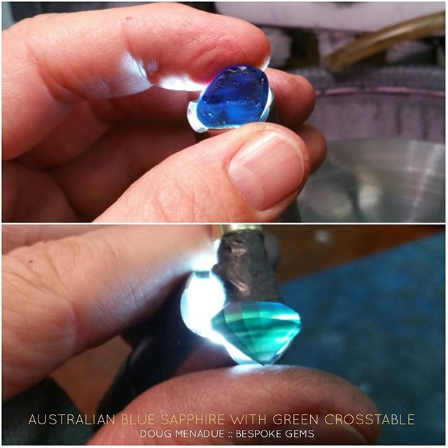 Here is an Australian blue sapphire from the Central Queensland gemfields. Alot of sapphires have what's known as a crosstable which in this case is green.  Generally sapphires are oriented to get the blue colour which is what I've done in this case.  DOUG MENADUE  WWW.BESPOKE-GEMS.COM  SYDNEY CBD AUSTRALIA - Precision Gemcutting and Lapidary Services Located In Sydney Australia