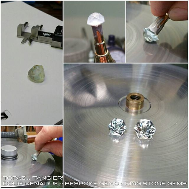Just finished a couple of topaz 'Tangier' gems. They look absolutely amazing,  really bright and sparkling gems in the hand. One has a touch of blue,  the other a bright silver. This is a 'dome' style design with a high rounded crown. I do love my topaz! :-) WWW.BESPOKE-GEMS.COM  WWW.KINGSTONEGEMS.COM  SYDNEY CBD AUSTRALIA - Precision Gemcutting and Lapidary Services Located In Sydney Australia