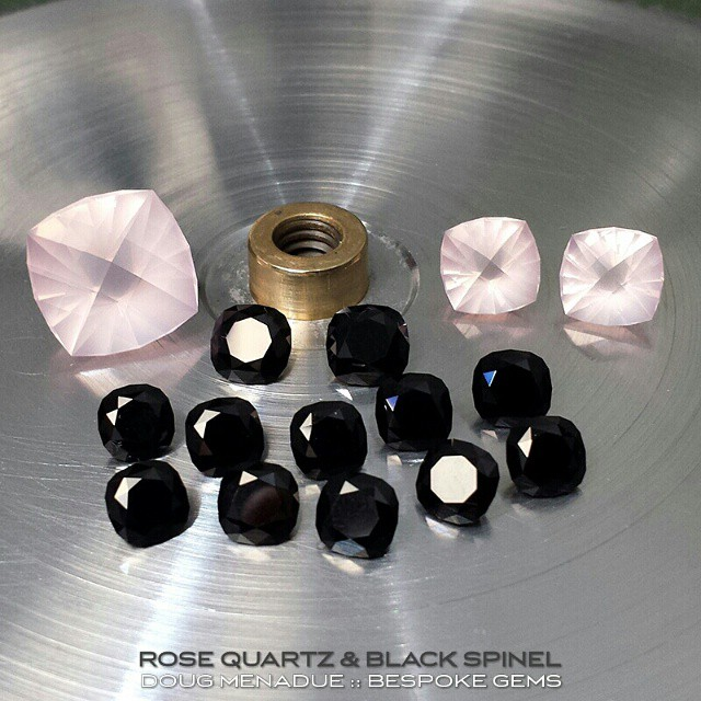 Just finished another custom order that I've been working on for the last couple of weeks. Three nice rose quartz cut in the Sparkman design and 12 matched black spinel in the Victoria Regent design. Glad that one is finished. All for one client.  WWW.BESPOKE-GEMS.COM - Precision Gemcutting and Lapidary Services Located In Sydney Australia