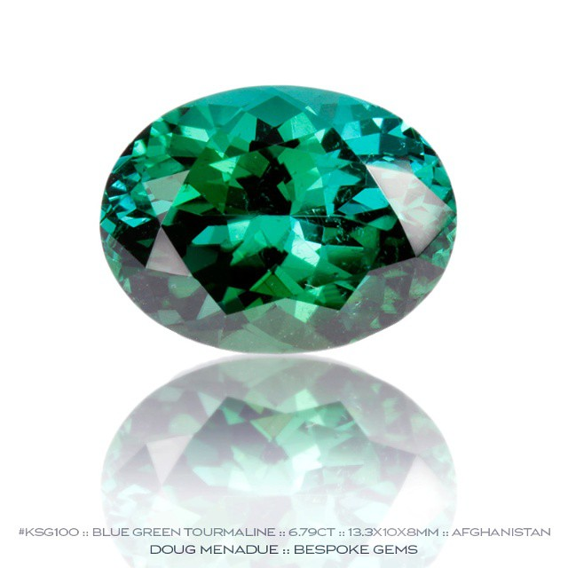 KSG100 :: BLUE GREEN TOURMALINE :: 6.79CT :: 13.3X10X8MM :: AFGHANISTAN :: A vivid and richly hued tourmaline that would be perfect as a ring stone. The colours are gorgeous with a wonderful interplay of blue and green. A superb gem. :: Available for sale.  Contact via PM or email dmenadue@yahoo.com  WWW.BESPOKE-GEMS.COM :: SYDNEY :: AUSTRALIA - Precision Gemcutting and Lapidary Services Located In Sydney Australia