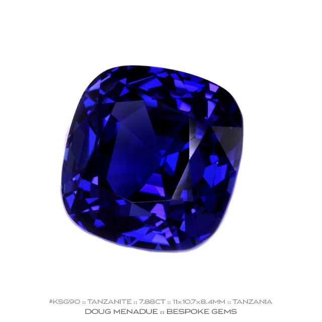 KSG90 :: TANZANITE :: 7.88CT :: 11X10.7X8.4MM :: CUSHION CUT :: AAA COLOUR :: If you have been looking for the perfect tanzanite ring stone,  this stunning gem is the one. The colour of this beautiful tanzanite is AAA quality, a deep rich royal blue with hints of purple. It is an ideal size and shape for an impressive ring. The quality of the cut and finish is excellent making this an exceptionally fine gem. A stone for the connoisseur.  Available for sale.  Contact via PM or email dmenadue@yahoo.com  WWW.BESPOKE-GEMS.COM - Precision Gemcutting and Lapidary Services Located In Sydney Australia