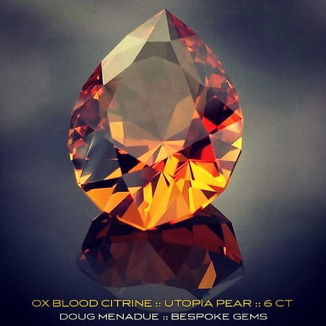 OX BLOOD CITRINE :: UTOPIA PEAR :: 6 CT :: Autumn colours at their best! *** AVAILABLE FOR SALE *** http://www.bespoke-gems.com/citrine.php#image_711 - Precision Gemcutting and Lapidary Services Located In Sydney Australia