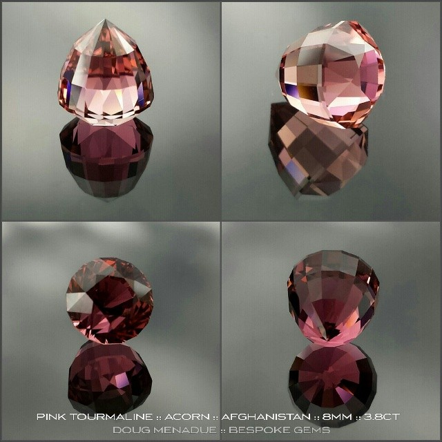 PINK TOURMALINE :: ACORN :: 8X8X8.8MM ::3.8CT :: A superb pink tourmaline from Afghanistan! I truly love the Afghani tourmaline, it always cuts a bright, lively and good looking gemstone. This beauty has been faceted in my Acorn design and would be ideal for a creative solitare setting or perhaps a hanging pendant design. The colour is devine and as pink as you could want. In the sunlight the gem is dazzling with fire and sparkles. The gem is eye clean and first class, top shelf. *AVAILABLE* Contact me at dmenadue@yahoo.com for more information.  WWW.BESPOKE-GEMS.COM - Precision Gemcutting and Lapidary Services Located In Sydney Australia