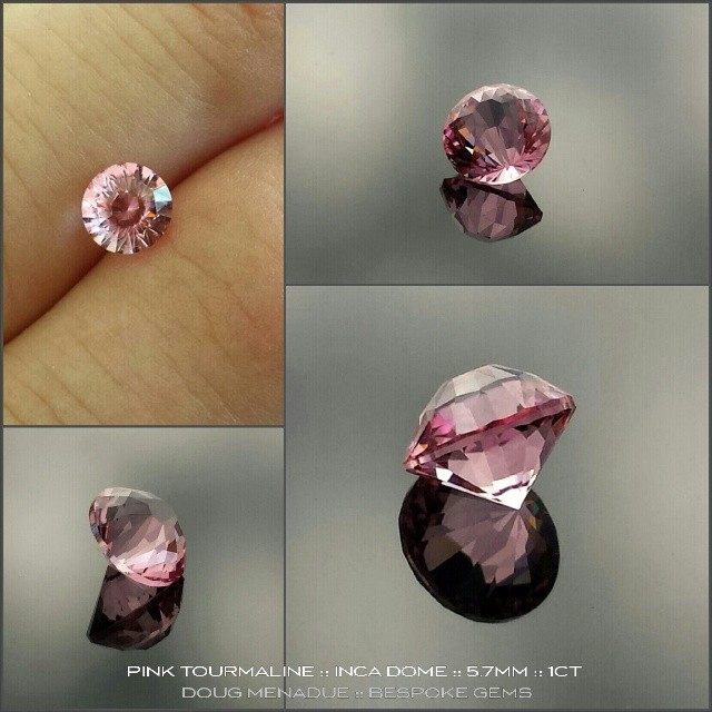 PINK TOURMALINE :: INCA DOME :: 5.7MM :: 1CT :: A very sweet little candy pink tourmaline from Congo. This beautiful gem has been cut in a modern design that features a high dome. It should fit a standard ring setting without any problems. It is a very happy, bright gem with a wonderful colour. *AVALIABLE* dmenadue@yahoo.com  WWW.BESPOKE-GEMS.COM - Precision Gemcutting and Lapidary Services Located In Sydney Australia