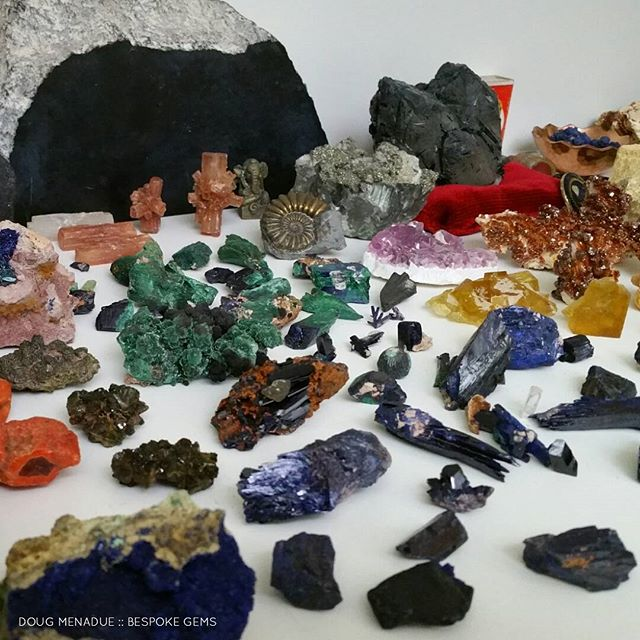 Part of my Moroccan specimen collection plus a few aussie ones mixed in. How many things can you recognise?  DOUG MENADUE  WWW.BESPOKE-GEMS.COM - Precision Gemcutting and Lapidary Services Located In Sydney Australia