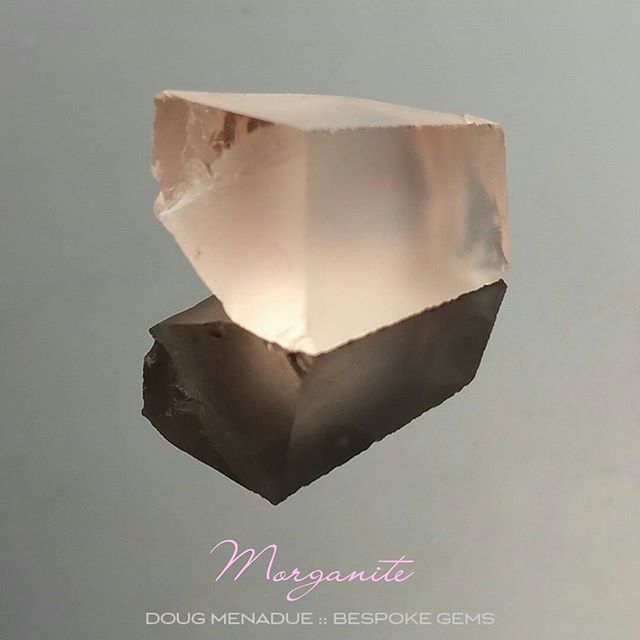 Peachy pink morganite... this piece would be perfect for a little Asscher Cut. Morganite has been super popular of late.  DOUG MENADUE  WWW.BESPOKE-GEMS.COM - Precision Gemcutting and Lapidary Services Located In Sydney Australia