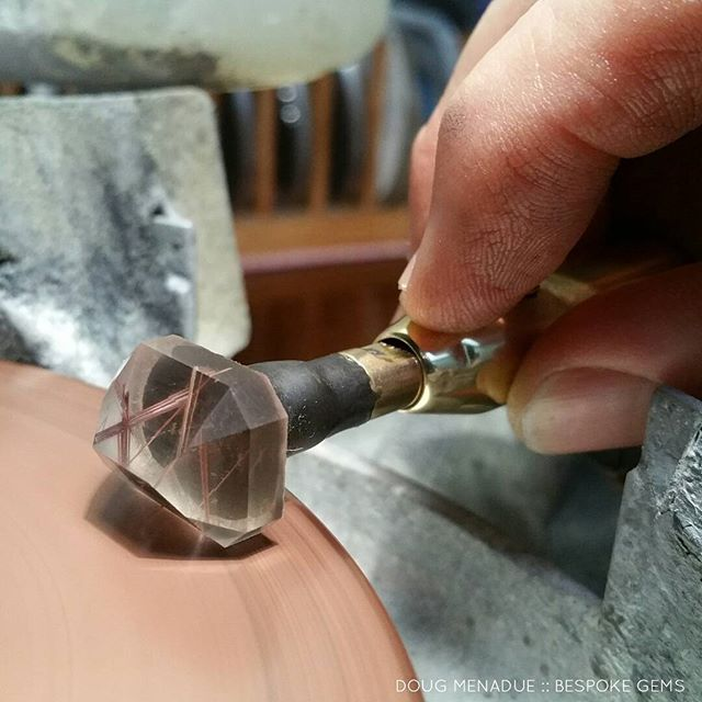 Prepolishing a rutilated quartz stone. I use 3K Diamond on a copper lap.  DOUG MENADUE  WWW.BESPOKE-GEMS.COM - Precision Gemcutting and Lapidary Services Located In Sydney Australia