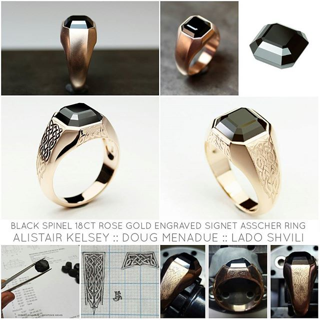 Recent collaboration piece between Alistair Kelsey @alistairkelseyjewellery, Lado Shvili @ladosjewellerystudio and myself. This amazing piece is a Black Spinel 18ct Rose Gold Engraved Signet Ring. I cut the black spinel, Alistair designed and crafted the ring and Lado did the amazing engraving. The result was a beautifully balanced signet ring which the client was extremely happy with. I want one now! :-) Read more about it here :  http://www.bespoke-gems.com/black-spinel.php#image_876  DOUG MENADUE WWW.BESPOKE-GEMS.COM SYDNEY CBD AUSTRALIA - Precision Gemcutting and Lapidary Services Located In Sydney Australia