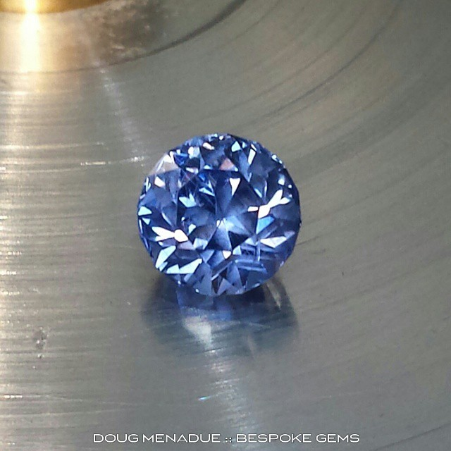 Recut for a client, a lovely ceylon blue sapphire 1.6ct finished in the Antique Round design. She sparkles now... goodbye window.  WWW.BESPOKE-GEMS.COM - Precision Gemcutting and Lapidary Services Located In Sydney Australia