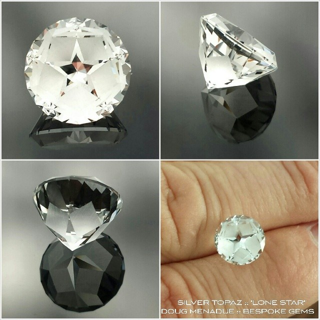SILVER TOPAZ :: 'LONE STAR' :: 5.2CT :: 10.2X10.2X7.4MM :: Here's a stunning O'Briens Creek topaz cut in a really eye catching design that highlights a five pointed star. Its a beautiful silver white stone and something unique and unusual. Contact :: dmenadue@yahoo.com *AVAILABLE* $260  WWW.BESPOKE-GEMS.COM - Precision Gemcutting and Lapidary Services Located In Sydney Australia