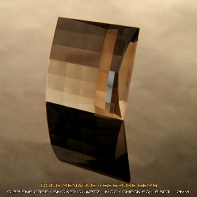 SMOKEY QUARTZ :: MOCK CHECK SQUARE :: O'BRIENS CREEK,  AUSTRALIA :: 8.5CT :: 12MM :: The rich mocha and coffee hues and subtle tones of this natural smokey quartz are truly devine and complement this modern design perfectly.  WWW.BESPOKE-GEMS.COM - Precision Gemcutting and Lapidary Services Located In Sydney Australia