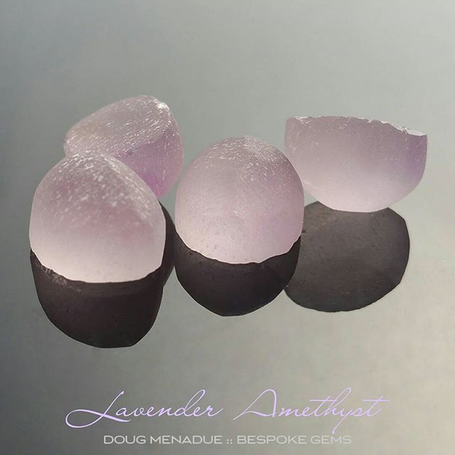Some beautiful lavender amethyst that will cut matched pairs for lovely earrings. I've got some nice oval designs earmarked for these stones.  Contact me for more info or if you'd like a pair cut for you.  DOUG MENADUE  WWW.BESPOKE-GEMS.COM  SYDNEY CBD AUSTRALIA - Precision Gemcutting and Lapidary Services Located In Sydney Australia