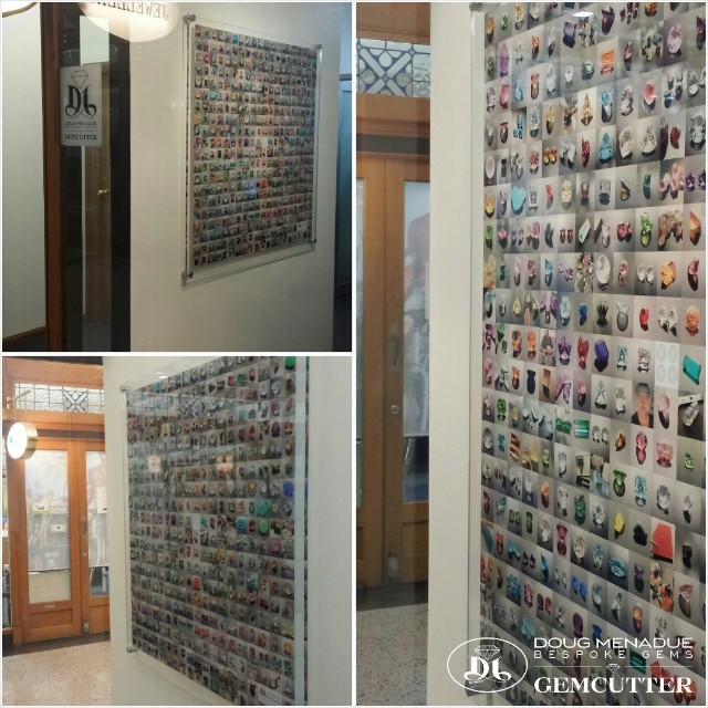 Something to brighten the wall... a large 1x1m mosaic picture showing a while bunch of gems that I've cut over the years. There are around 400 individual pics all assembled using photoshop. It looks awesome and is quite impressive hanging there. I didn't realize just how BIG it would be.  Thanks Flo for the surprise!!! :-) - Precision Gemcutting and Lapidary Services Located In Sydney Australia