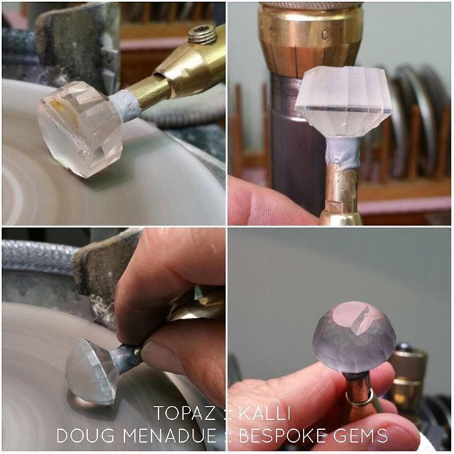 Starting on the crown next on this big topaz Kalli. It's coming along nicely. There is a bit of a divit in the top of the stone which will eat into the height a little unfortunately, just means the height will be a fraction lower.    DOUG MENADUE  WWW.BESPOKE-GEMS.COM   - Precision Gemcutting and Lapidary Services Located In Sydney Australia