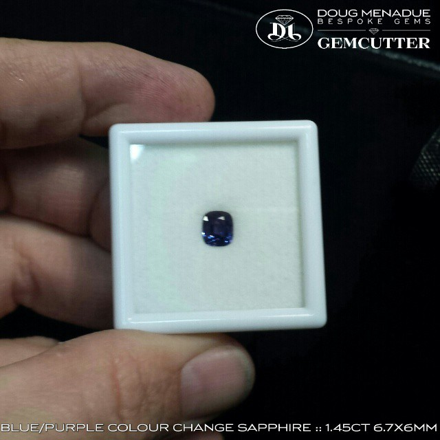 TOP CLASS BLUE/PURPLE COLOUR CHANGE SAPPHIRE :: MADAGASCAR :: 1.45CT 6.7X6MM :: RECT CUSHION :: VSI :: TREATMENTS UNKNOWN :: FOR SALE $600 USD PER CARAT :: dmenadue@yahoo.com WWW.BESPOKE-GEMS.COM - Precision Gemcutting and Lapidary Services Located In Sydney Australia