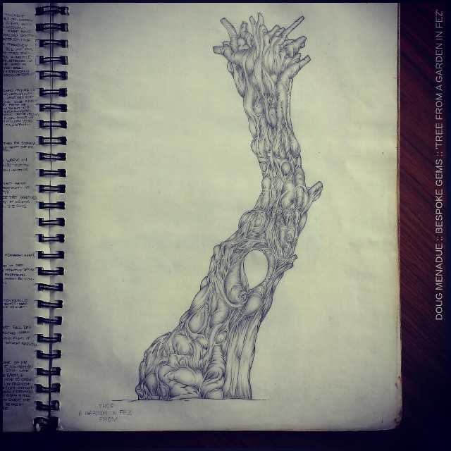 'TREE FROM A GARDEN IN FEZ' :: Just before the world changed forever I spent three months wandering around Morocco. Near the palace in Fez I discovered a small public garden wherein I spent several afternoons sketching an old tree that stood alone in the centre of the garden. It reminded me of an arm stretching up out of the earth quietly reaching. Doug Menadue  WWW.BESPOKE-GEMS.COM WWW.SACREDGEOMETRICS.COM - Precision Gemcutting and Lapidary Services Located In Sydney Australia