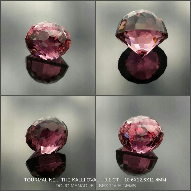 'The Kalli Oval' :: 201 facets of beautiful deep pink/rubellite tourmaline weighing in at 9.1 carats. This design was inspired by the round design called 'Kalli' by Jeff Graham. I created it specifically for this tourmaline. Its a very challenging design to facet but the results are worth it. In the sunlight the colour shows a very bright hot pink with lots of fire and action and there are many hues in this stone right through to rubellite. It is truly unique and a collectors stone. If you did want to set it then it would suit a bezel ring setting. It is avaliable for sale.  WWW.BESPOKE-GEMS.COM - Precision Gemcutting and Lapidary Services Located In Sydney Australia