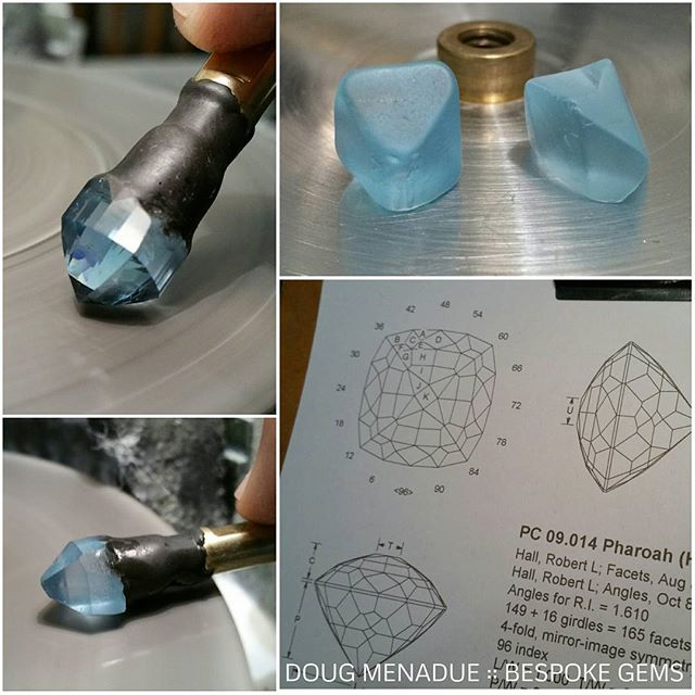 The march of the topaz continues on... Two more beautiful sky blue topaz on their way to being polished and sparkling. These are going to be cut in a design called 'Pharoah' which I think is a really great art deco styled square cushion. This design has 165 facets so it will take a little time to do.  WWW.BESPOKE-GEMS.COM :: SYDNEY :: AUSTRALIA - Precision Gemcutting and Lapidary Services Located In Sydney Australia