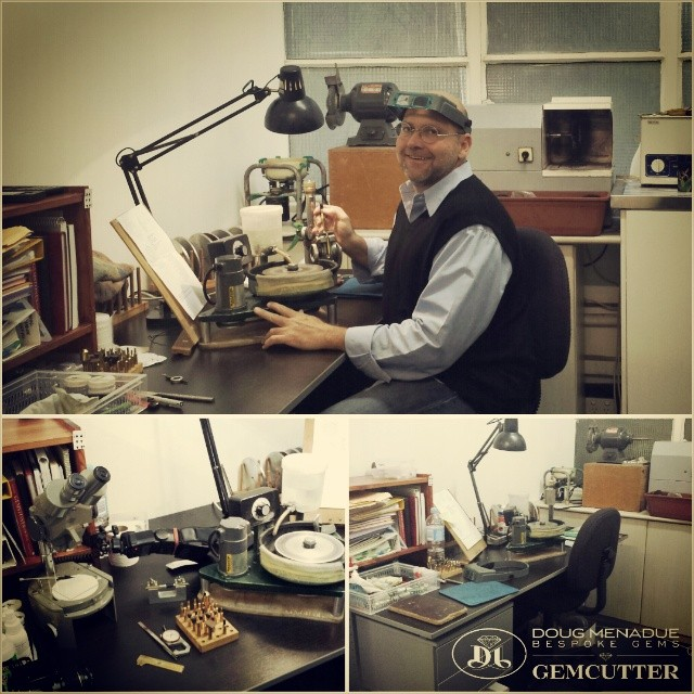 The new workspace... working hard.  WWW.BESPOKE-GEMS.COM - Precision Gemcutting and Lapidary Services Located In Sydney Australia