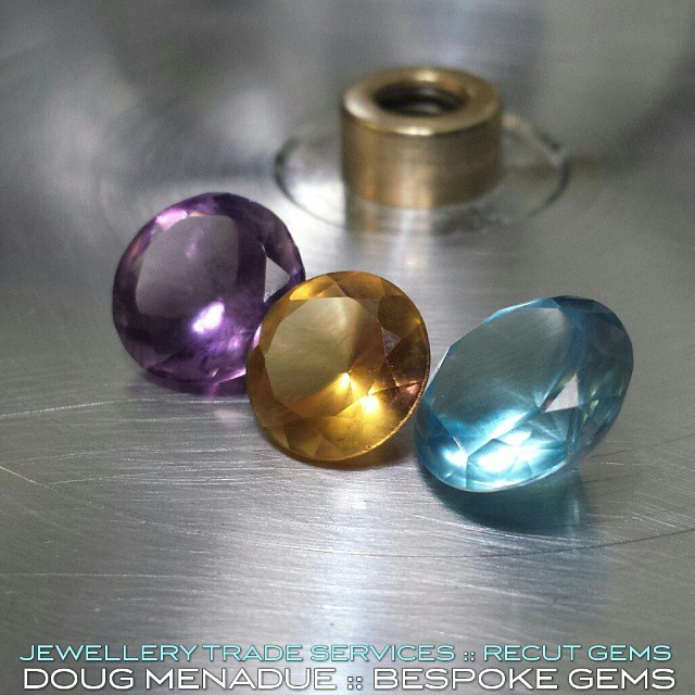 Three little gems ready for a recut... lets see what we can do with that.  WWW.BESPOKE-GEMS.COM - Precision Gemcutting and Lapidary Services Located In Sydney Australia