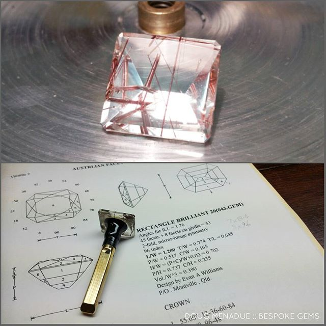 Today's mission... start on recutting this big rutilated quartz for a client. It's 33 carats but the current shape isnt very attractive and not well done. We want to improve the proportions and give it a better design. I'm going with a stepped enerald cut on the pavilion and a scissor cut on the crown. Because it has rutile needles you don't want to go too crazy with the facets as it would just get confusing in there. So I'm aiming somewhere in the middle, make it interesting but understandable.  DOUG MENADUE  WWW.BESPOKE-GEMS.COM  SYDNEY CBD AUSTRALIA - Precision Gemcutting and Lapidary Services Located In Sydney Australia