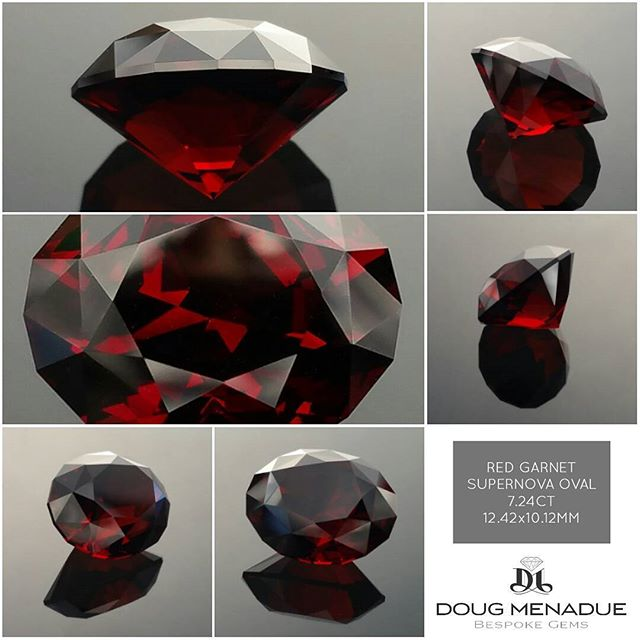 Very fine red garnet from Malawi, 7.24ct, 12.42x10.12x7.67mm, eye clean,  faceted in my favorite oval design, the 'Supernova'. Beautiful deep red color with bright strong flashes of colour. A very lovely red garnet.  Available for sale, visit my website for full details.  DOUG MENADUE  WWW.BESPOKE-GEMS.COM - Precision Gemcutting and Lapidary Services Located In Sydney Australia