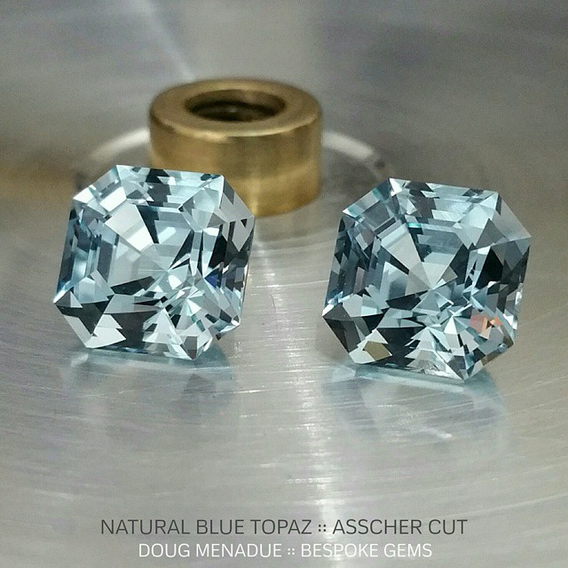 Welcome to the world! Here are the first two siblings cut from the same mother stone... they are identical twins, a matched pair of natural blue topaz cut in the classic asscher design. They are superb stones,  each is 11x11x9.1mm and 8.32 carats. They really are beautiful stones,  lovely colour, bright, sparkly and with a crisp internal facet reflection pattern. These will be going to the two 'M's on Pricescope. Congratulations! :-) Cheers!  DOUG MENADUE :: WWW.BESPOKE-GEMS.COM :: SYDNEY :: AUSTRALIA - Precision Gemcutting and Lapidary Services Located In Sydney Australia