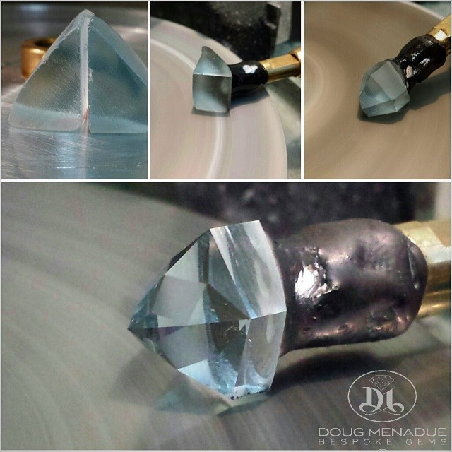 Work in progress... Natural blue topaz Mystic Star.  WWW.BESPOKE-GEMS.COM - Precision Gemcutting and Lapidary Services Located In Sydney Australia