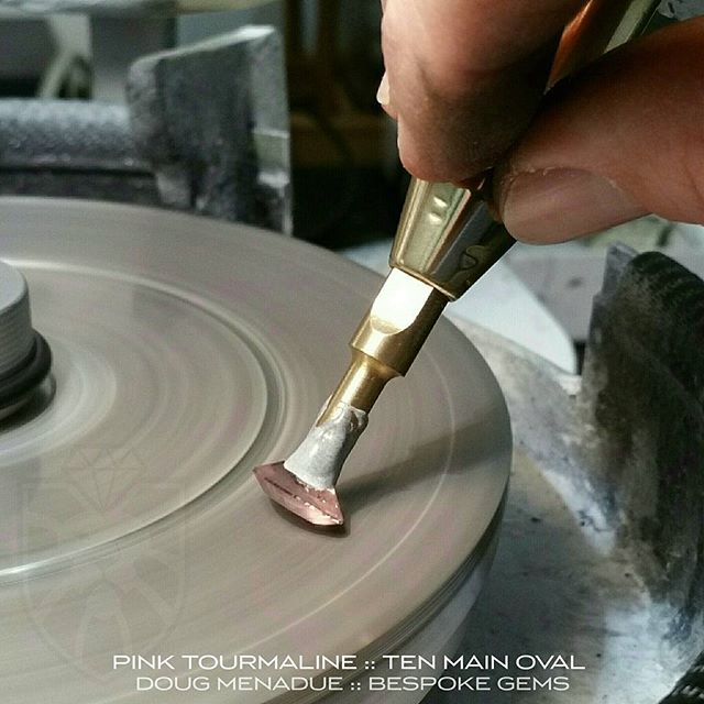 Working away on the pink tourmaline. It's a beautiful stone,  lovely colour.  WWW.BESPOKE-GEMS.COM :: SYDNEY :: AUSTRALIA - Precision Gemcutting and Lapidary Services Located In Sydney Australia