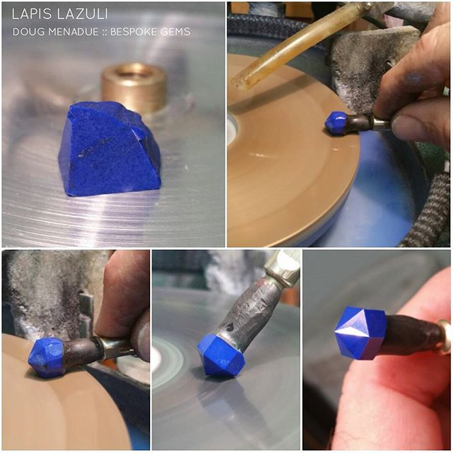 Working on a nice little piece of lapis lazuli. This is going to be cut in the Tangier design.  DOUG MENADUE  WWW.BESPOKE-GEMS.COM - Precision Gemcutting and Lapidary Services Located In Sydney Australia